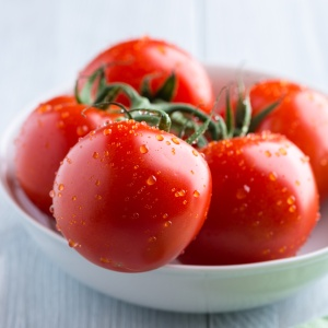 Fresh tomatoes in a white bowl